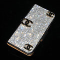 Three chanel bling folder holster cover book flip leather case for iPhone 4G 4S - Black+Black