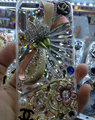 Bling Swarovski crystal cases Flower Chanel diamond cover for iPhone 5C - White