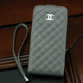 Chanel Genuine leather Case Flip Holster Cover for iPhone 5C - Gray