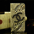 Chanel bling crystal book leather Case flip Holster Cover for iPhone 5C - Black+White
