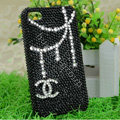 Chanel diamond Crystal Cases Luxury Bling Covers skin for iPhone 5C - Black