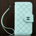 Chanel folder Genuine leather Case Book Flip Holster Cover for iPhone 5C - White