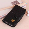 Chanel folder leather Cases Book Flip Holster Cover Skin for iPhone 5C - Black