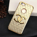 Chanel leather Cases Luxury Hard Back Covers Skin for iPhone 5C - Gold