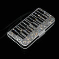 Piano bling folder holster cover book flip leather case for iPhone 5C - White+Black