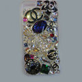 Swarovski crystal cases Bling Chanel Flower diamond cover for iPhone 5C - Black