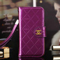 Best Mirror Chanel folder leather Case Book Flip Holster Cover for iPhone 5S - Purple