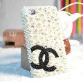 Bling Chanel Rhinestone Crystal Cases Pearls Covers for iPhone 5S - White