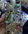 Bling Swarovski crystal cases Chanel Flower diamonds cover for iPhone 5S - Blue