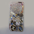 Bling Swarovski crystal cases Chanel diamond cover for iPhone 5S - White