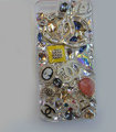 Bling Swarovski crystal cases Chanel diamonds cover for iPhone 5S - White