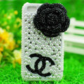 Chanel Flower diamond Crystal Cases Luxury Bling Covers for iPhone 5S - White
