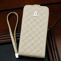 Chanel Genuine leather Case Flip Holster Cover for iPhone 5S - Beige