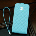 Chanel Genuine leather Case Flip Holster Cover for iPhone 5S - Blue