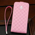 Chanel Genuine leather Case Flip Holster Cover for iPhone 5S - Pink