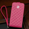 Chanel Genuine leather Case Flip Holster Cover for iPhone 5S - Rose