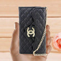 Chanel Handbag leather Cases Wallet Holster Cover for iPhone 5S - Black