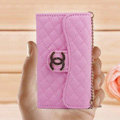 Chanel Handbag leather Cases Wallet Holster Cover for iPhone 5S - Purple