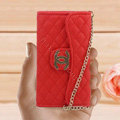 Chanel Handbag leather Cases Wallet Holster Cover for iPhone 5S - Red