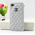 Chanel Hard Cover leather Cases Holster Skin for iPhone 5S - White