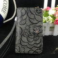 Chanel Rose pattern leather Case folder flip Holster Cover for iPhone 5S - Gray
