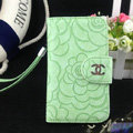 Chanel Rose pattern leather Case folder flip Holster Cover for iPhone 5S - Green