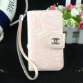 Chanel Rose pattern leather Case folder flip Holster Cover for iPhone 5S - Pink
