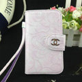 Chanel Rose pattern leather Case folder flip Holster Cover for iPhone 5S - Purple