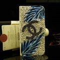 Chanel bling crystal book leather Case flip Holster Cover for iPhone 5S - Black+Blue