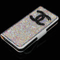 Chanel bling folder stand holster cover book flip leather case for iPhone 5S - White+Pink