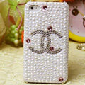 Chanel diamond Crystal Cases Bling Pearl Hard Covers for iPhone 5S - White
