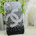Chanel diamond Crystal Cases Gradient Luxury Bling Hard Covers for iPhone 5S - Black