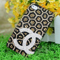 Chanel diamond Crystal Cases Luxury Bling Hard Covers for iPhone 5S - Brown
