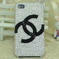 Chanel diamond Crystal Cases Luxury Bling skin Covers for iPhone 5S - White