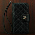 Chanel folder Genuine leather Case Book Flip Holster Cover for iPhone 5S - Black