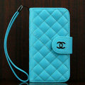 Chanel folder Genuine leather Case Book Flip Holster Cover for iPhone 5S - Blue