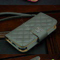 Chanel folder Genuine leather Case Book Flip Holster Cover for iPhone 5S - Gray