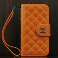 Chanel folder Genuine leather Case Book Flip Holster Cover for iPhone 5S - Oranger