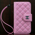 Chanel folder Genuine leather Case Book Flip Holster Cover for iPhone 5S - Pink