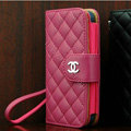 Chanel folder Genuine leather Case Book Flip Holster Cover for iPhone 5S - Rose