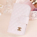 Chanel folder leather Cases Book Flip Holster Cover Skin for iPhone 5S - White