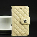 Chanel folder leather Cases Book Flip Holster Cover for iPhone 5S - Beige