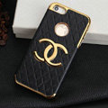 Chanel leather Cases Luxury Hard Back Covers Skin for iPhone 5S - Black
