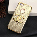 Chanel leather Cases Luxury Hard Back Covers Skin for iPhone 5S - Gold