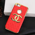 Chanel leather Cases Luxury Hard Back Covers Skin for iPhone 5S - Red