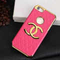 Chanel leather Cases Luxury Hard Back Covers Skin for iPhone 5S - Rose