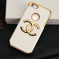Chanel leather Cases Luxury Hard Back Covers Skin for iPhone 5S - White