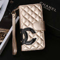 Classic Sheepskin Chanel folder leather Case Book Flip Holster Cover for iPhone 5S - Gold