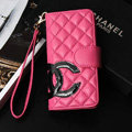 Classic Sheepskin Chanel folder leather Case Book Flip Holster Cover for iPhone 5S - Rose