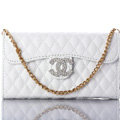 Elegant Chain Chanel folder leather Case Book Flip Holster Cover for iPhone 5S - White